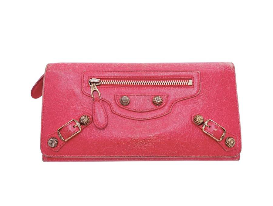 【中古】バレンシアガ BALENCIAGA 二つ折り 長財布 ホック レザー ローズピンクの商品画像