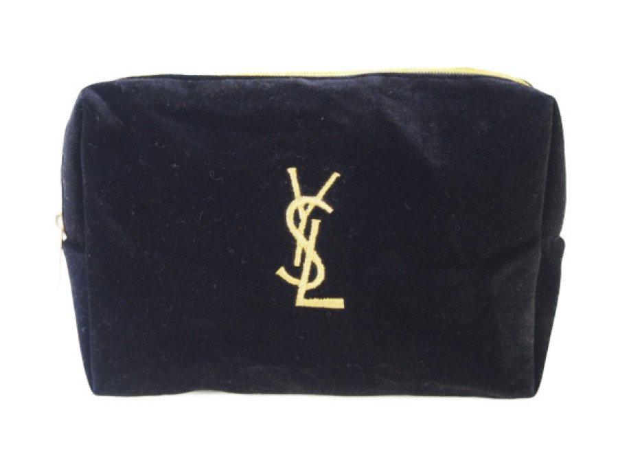 【展示品】イブサンローラン YSL ノベルティ コスメポーチ ベロア生地 刺繍ロゴ 黒の商品画像