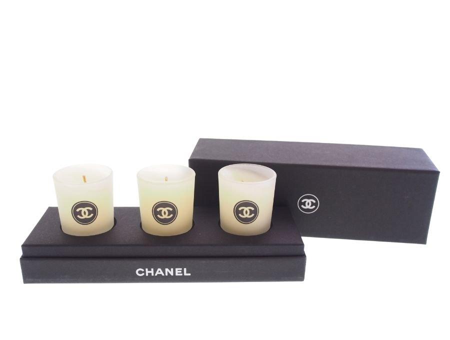 【新品】シャネル CHANEL ノベルティ アロマキャンドル ろうそく 3個セット ガラスの商品画像