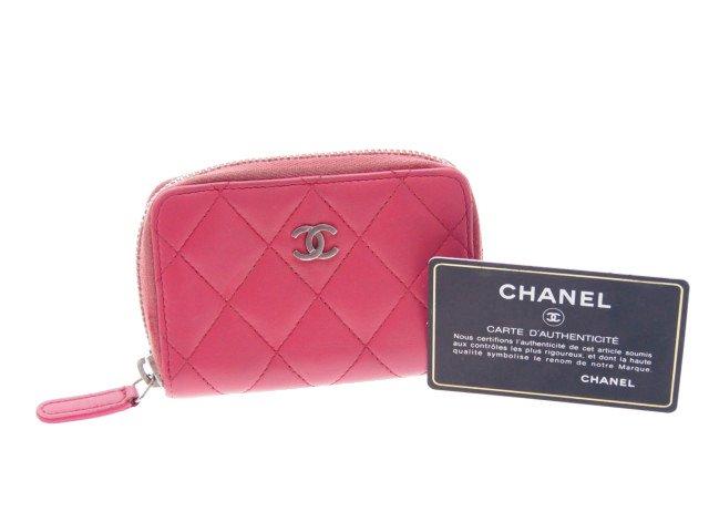 【中古】シャネル CHANEL マトラッセ コインケース 財布 ラムスキン ピンクの商品画像