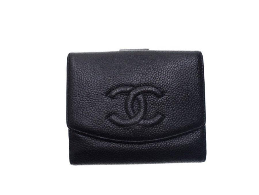 【良品】シャネル CHANEL 二つ折り財布 キャビアスキン CC 型押しココマーク Wホック ブラックの商品画像