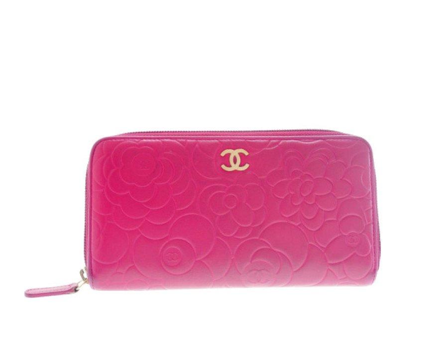 【美品】シャネル CHANEL カメリア型押し 長財布 ラウンドファスナー ピンクの商品画像