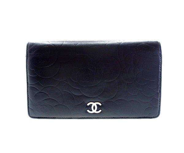 【中古】シャネル CHANEL カメリア型押し 二つ折り 長財布 ロングウォレット ブラック ピンクの商品画像