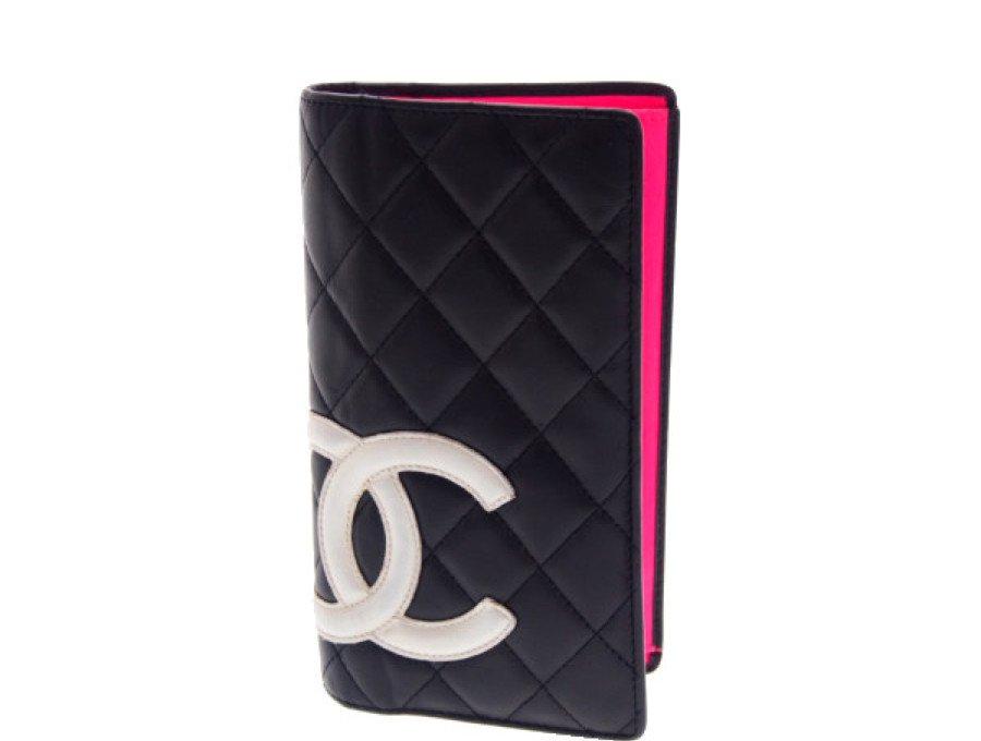 【中古】シャネル CHANEL 長財布 ロングウォレット カンボンライン マトラッセ ブラック ピンクの商品画像