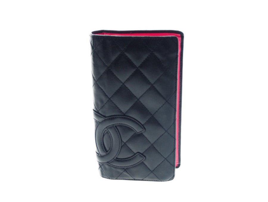 【中古】シャネル CHANEL 長財布 二つ折り ロングウォレット カンボンライン マトラッセ ブラック ピンクの商品画像