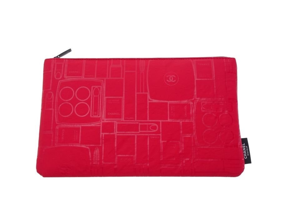 【新品】シャネル CHANEL ノベルティ メイクアップ コスメポーチ 化粧ケース総柄 赤の商品画像