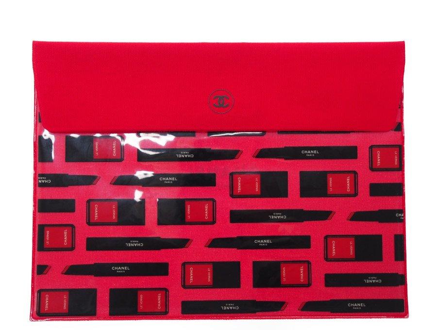 【新品】シャネル CHANEL ノベルティ メイクアップ ポーチ 片面スケルトン総柄 赤の商品画像