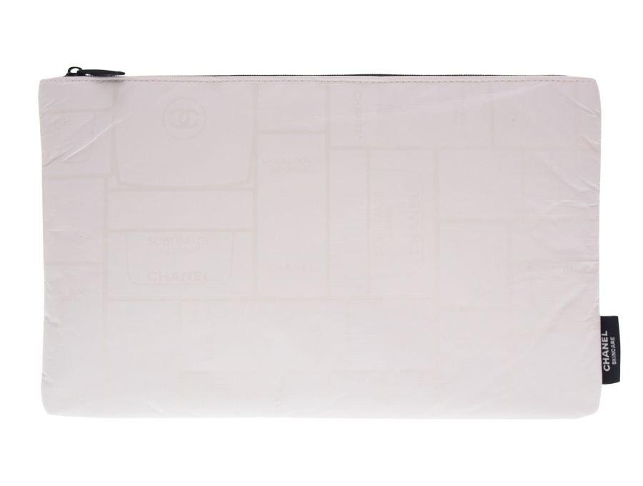 【展示品】シャネル CHANEL ノベルティ スキンケア コスメポーチ 未使用 化粧品ケース総柄 白の商品画像