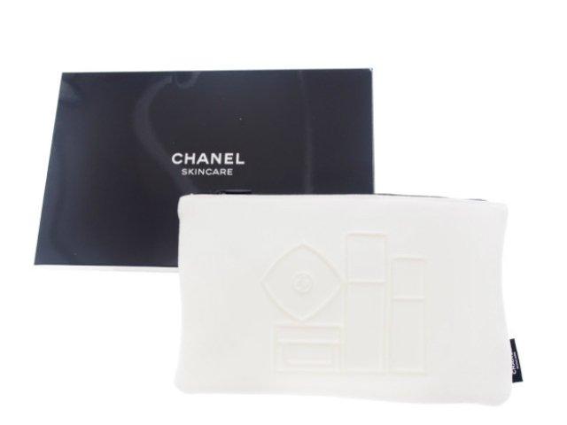 【新品】シャネル CHANEL ノベルティ スキンケア コスメポーチ 化粧ボトル柄 2019 白の商品画像