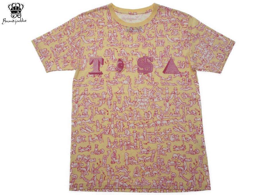 【中古】フェノメノン PHENOMENON Tシャツ 半袖 TISA アニマル総柄 サイズ クリーム ピンク メンズの商品画像