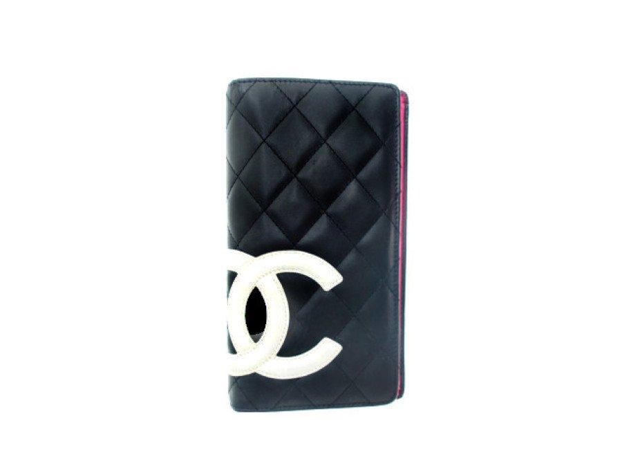 【中古】シャネル CHANEL 長財布 カンボンライン マトラッセ ブラックピンクの商品画像
