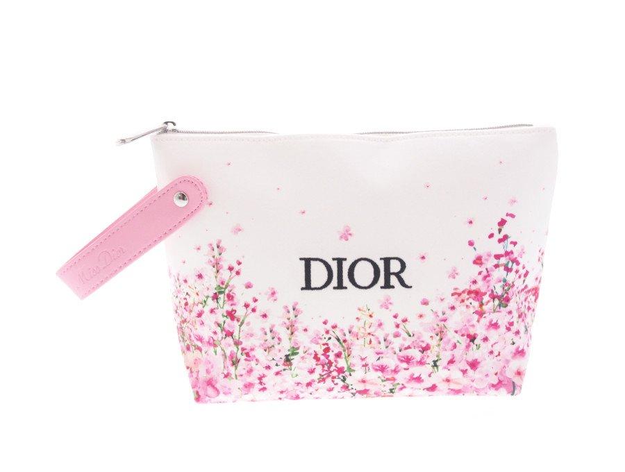 【新品】クリスチャンディオール Dior ノベルティ ポーチ ストラップ付き 花柄 ピンク 元箱なしの商品画像