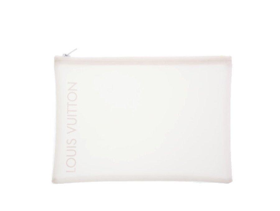 【新品】ルイヴィトン LOUIS VUITTON ノベルティ メッシュポーチ フラット ファスナー ホワイトの商品画像