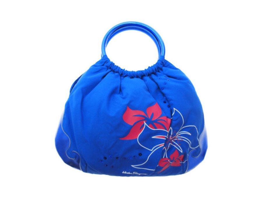 【新品】サルヴァトーレフェラガモパフューム Salvatore Ferragamo ノベルティ ハンドバッグ PARFUMS 花柄 スパンコール ブルーの商品画像