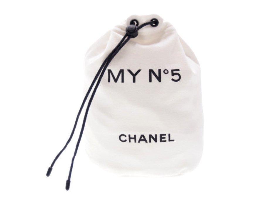 【新品】シャネル CHANEL ノベルティ 巾着ポーチ 丸底 MY No.5 コットン 2020 PARFUMS ホワイトの商品画像