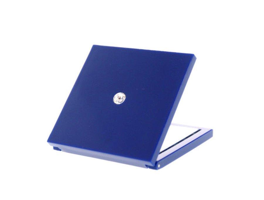 【新品】スワロフスキー SWAROVSKI ノベルティ 鏡 コンパクトミラー 拡大鏡 2面鏡 1粒スワロ 紺青 ネイビーの商品画像
