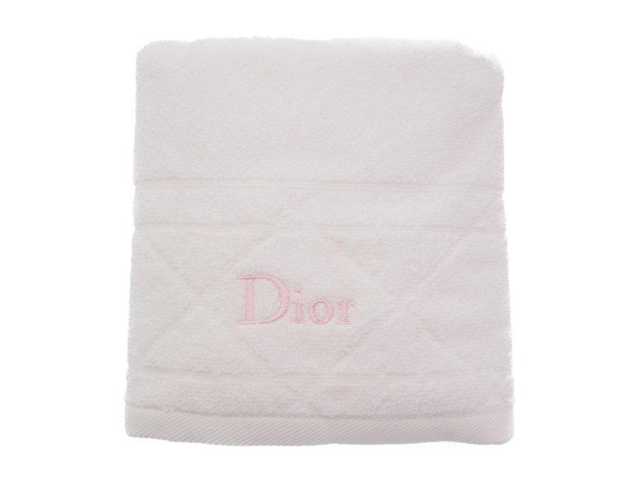 【新品】クリスチャンディオール Dior ノベルティ ハンドタオル ホワイト ピンク刺繍 コットン100% Parfumsの商品画像