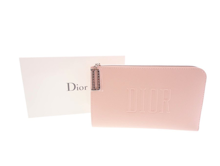 【新品】クリスチャンディオール Dior ノベルティ ポーチ シルバーL字ファスナー ピンク 箱付きの商品画像