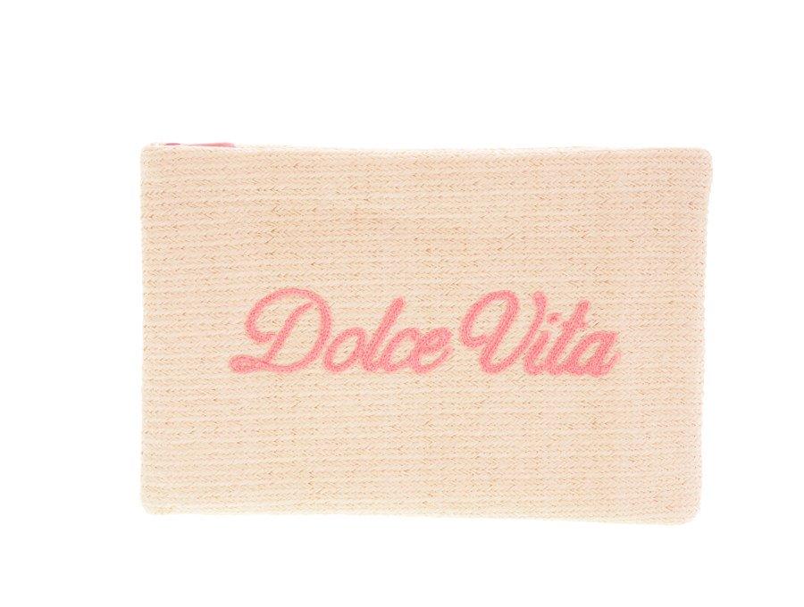 【新品】クリスチャンディオール Dior ノベルティ ポーチ ドルチェヴィータ Dolce Vita ベージュ ピンク刺繍の商品画像