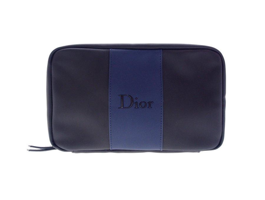 【新品】クリスチャンディォール Christian Dior コスメポーチ クラッチポーチ BEAUTE バイカラー ブラック センターブルーの商品画像