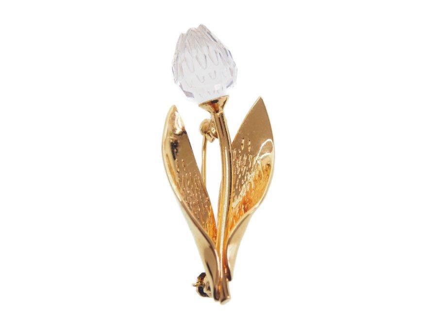 【中古】スワロフスキー SWAROVSKI ブローチ ピンバッジ フラワーモチーフ チューリップ ゴールド 箱付きの商品画像