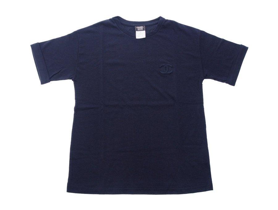 【新品】シャネル  CHANEL ノベルティ Tシャツ 海外店舗ユニフォーム 刺繍ロゴ ネイビー レディース Mサイズ スタッフ着用 希少品 1点物の商品画像