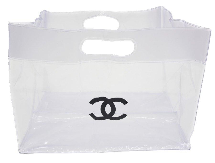【新品】シャネル CHANEL ブティック クリアバッグ 透明ハンドバッグ プールバッグ マチ広 CCロゴ サンダル購入時付属品 レアの商品画像