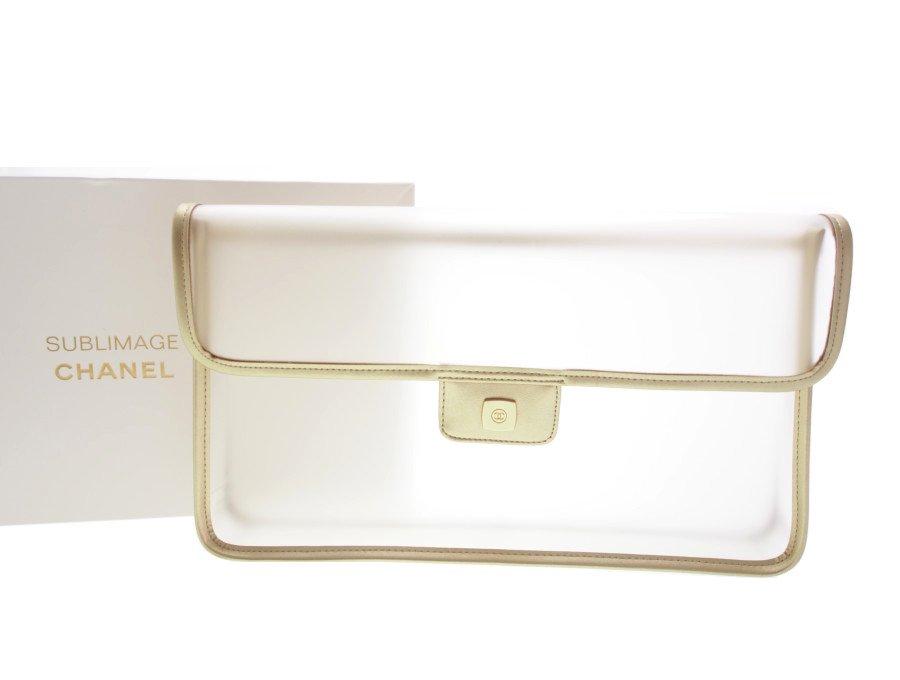 【新品】シャネル  CHANEL ノベルティ サブリマージュ セカンドバッグ 書類カバン くもり 半透明 ビニール製 SUBLIMAGE クリアー×ゴールド 希少品 の商品画像
