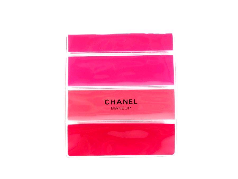 【新品】シャネル CHANEL ノベルティ コスメポーチ メイクアップ MAKEUP クリア スケルトン スナップボタン ボーダー レッド ピンクの商品画像
