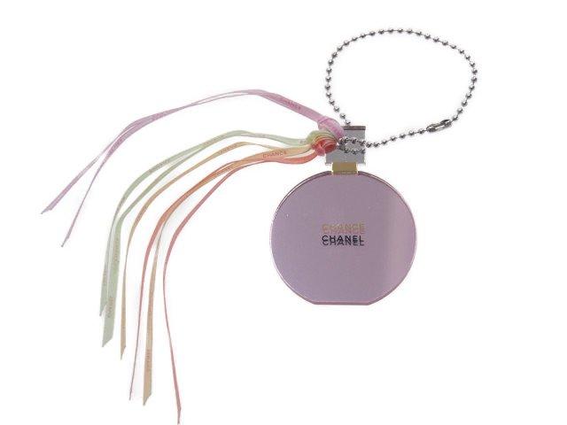 【新品】シャネル CHANEL ノベルティ ミラーチャーム チャンス 鏡面 ピンク リボンフリンジの商品画像