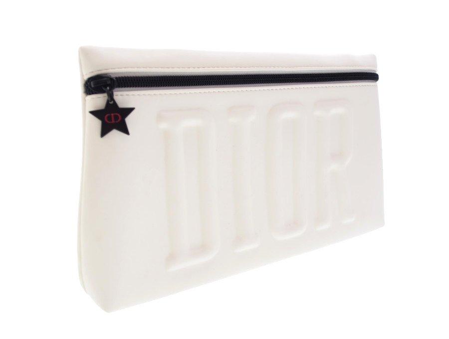 【展示品】クリスチャンディオール Dior ノベルティ ポーチ クラッチバッグ フロントファスナー BEAUTE 星 スターチャーム ホワイトの商品画像