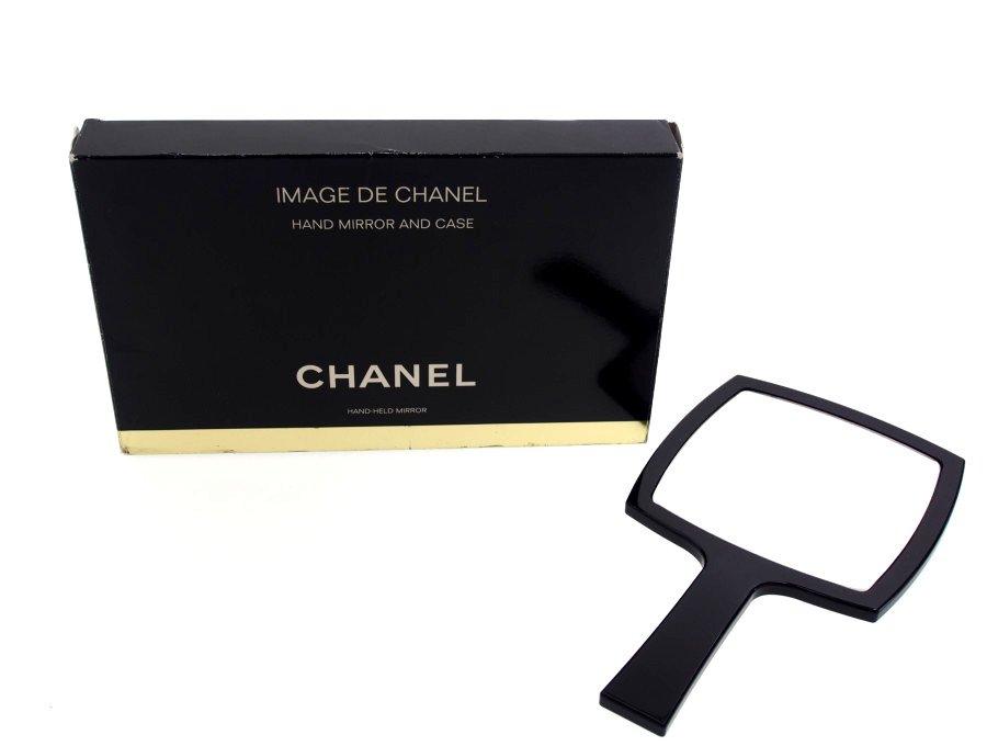 【展示品】未使用 シャネル CHANEL BEAUTY ノベルティ 手鏡 ハンドミラー アクリルフレーム ブラック 元箱付き ヴィンテージ IMAGE DE CHANELの商品画像