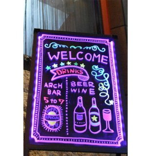 LED 手書き立て看板 【専用カラー蛍光ペン付】 サイズA型 [SISLG27-57] 光る手書き看板 LED電飾看板 電光掲示板 カフェバー バー 飲食店 おしゃれ