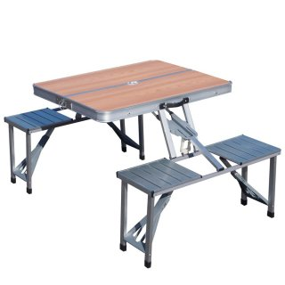 折り畳み式アウトドアテーブル&チェアセット1135 木目 [PC1135W] SIS 折りたたみ式 アウトドアテーブル イベント パラソル付き アウトドア