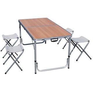 折り畳み式アウトドアテーブル&チェアセット木目 [PC1812-1B-W] SIS 折りたたみ式 アウトドアテーブル イベント 2wayテーブル アウトドア かんたん組み立て