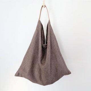 リネンとレザーのワンベルトバッグ(M・チャコールグレー)