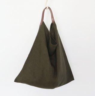 リネンとレザーのワンベルトバッグ(M・カーキ)