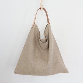 リネンとレザーのワンベルトバッグ(S・ナチュラル)