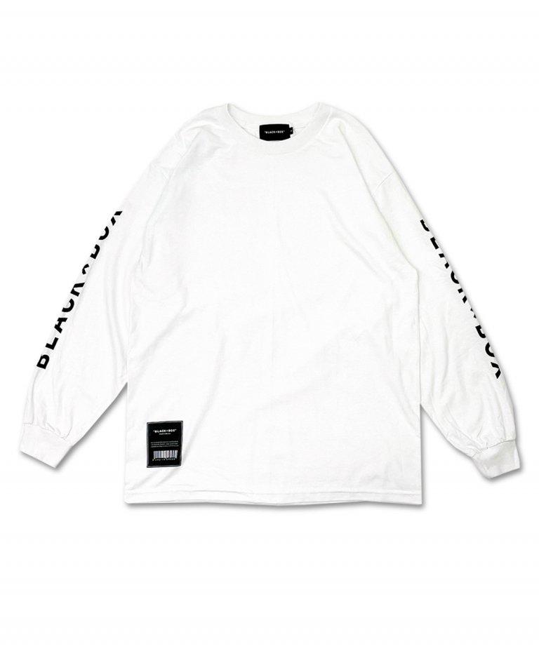 <img class='new_mark_img1' src='https://img.shop-pro.jp/img/new/icons8.gif' style='border:none;display:inline;margin:0px;padding:0px;width:auto;' />【9月18日Restock】BLACK×BOX Sleeve LOGO Long T-shirts.WHT