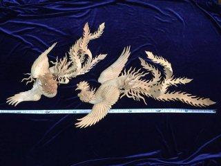 ◇ 新品  鳳凰の彫刻 樟材 白木仕上 1対 ◇
