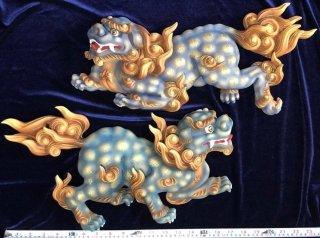 唐獅子 樟材 彩色仕上 1対