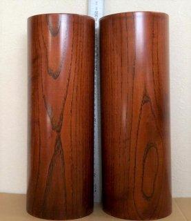 筒型の花立 2本組  欅製  高さ33cm