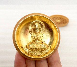 お守り本尊の勢至菩薩 香合仏 ツゲ製 本金箔押 金襴袋入