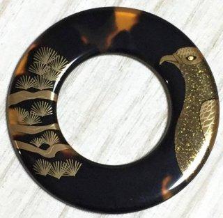新品 希少  鼈甲に蒔絵 長寿と繁栄を表す縁起の良い松に鷹 絡子の環 直径6.2�