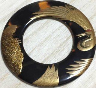 新品 希少 鼈甲に蒔絵 不老長寿縁起の良い鶴に亀図柄 絡子の環 直径6.2�