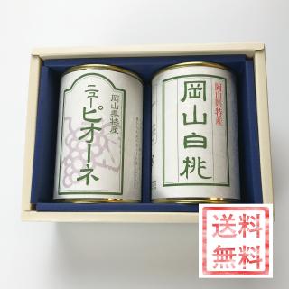 【ギフト向き】岡山県産フルーツ缶詰 2缶セット(岡山白桃・ピオーネ) ※送料無料