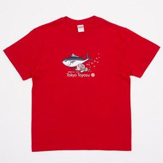 鮪と泳ぐコトミちゃんTシャツ(赤)【コラボ】【コトミちゃん】