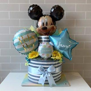 ディズニーミッキーおむつケーキ バルーン 名入れ込み