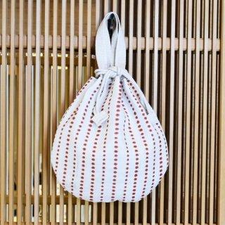 豆絞り巾着バッグ 赤