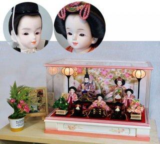 プリンセス雛人形 グラデーションピンク五人ケース飾りセット